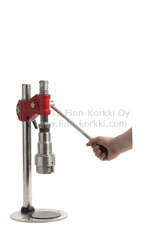 Ring pull bottle cap lever operated single head capping machine for RingCrown, RipCap and Maxi-P pull off bottle caps